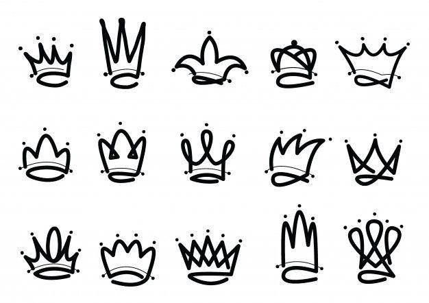 Corona logo icono dibujado a mano Vector  Premium Vector