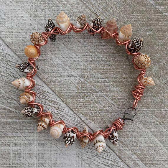 Seashell Bracelet Seashell Bead Wire Bracelet Wire Wrapped