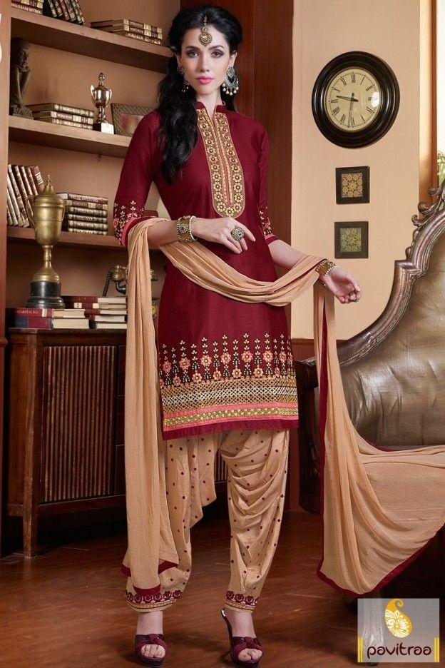 Attractive beige maroon color punjabi patiala suit with discount price best offer. New year 2016 latest embroidery work Punjabi salwar kameez top selling county likes UK, UAE, US, Canada. #salwarsuit,#patiala salwarsuit more: http://www.pavitraa.in/store/patiala-salwar-suit/