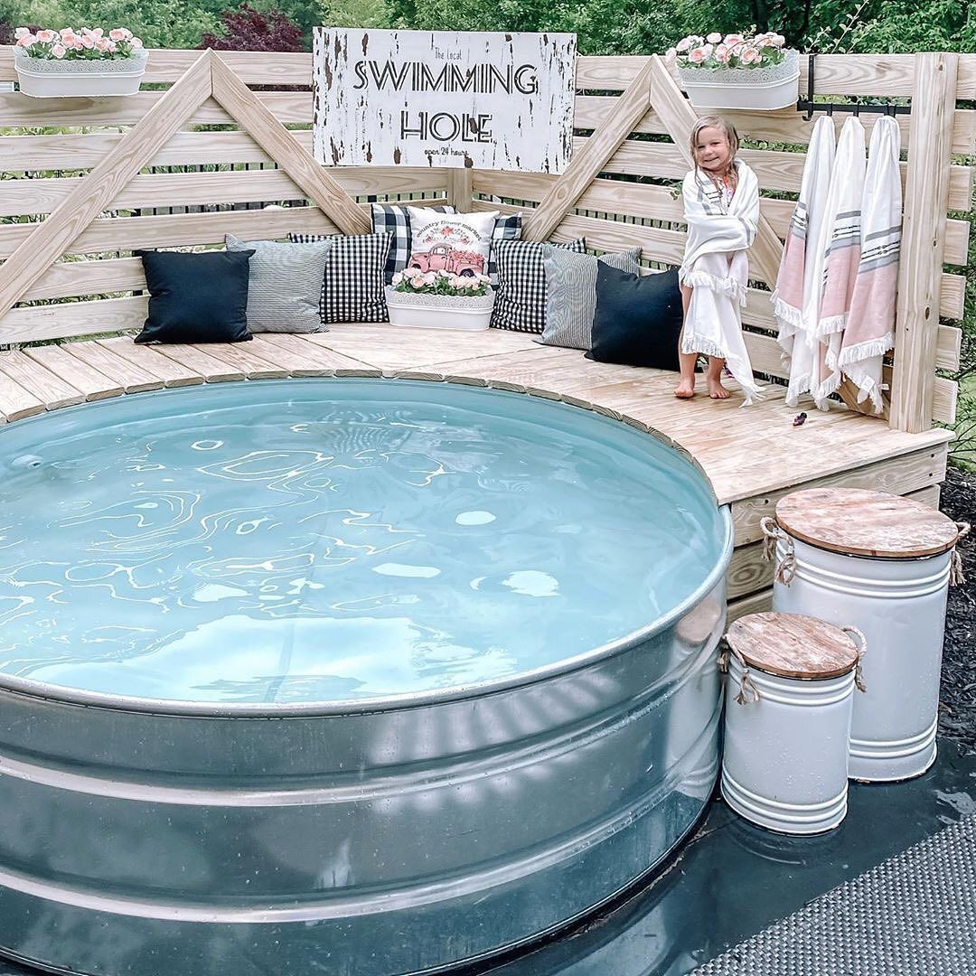 Farmhouse Fanatics On Instagram Do You Have A Swimming Hole At Home Littlesuburbanfarmhouse I Love Th In 2020 Cheap Pool Tank Pool Stock Tank Pool Diy