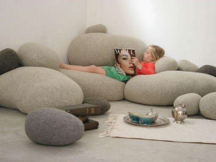 einrichtungsideen mit sitzsack sitzgelegenheit, sitzsack mit origineller form für die einrichtung im marokkanischen, Ideen entwickeln