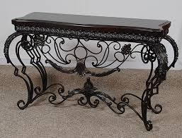Beau Iron Scrolled Leaf Console Table Hand Made Shells Scrolls