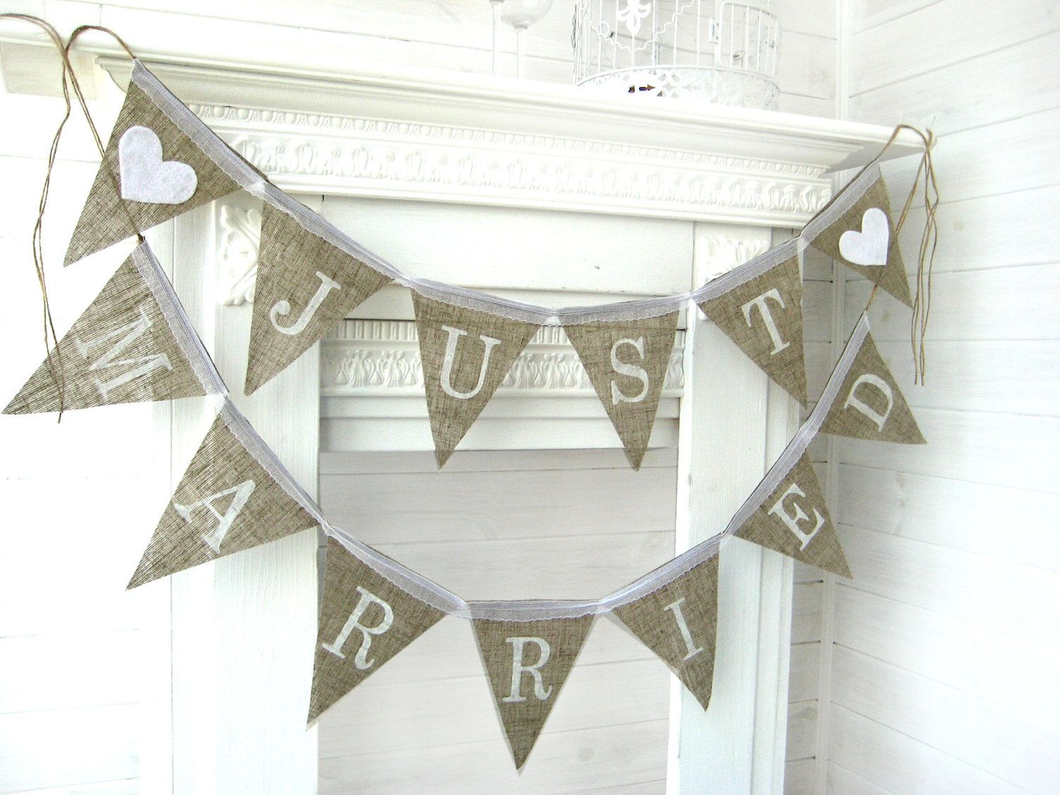 JUST MARRIED Burlap Banner Bunting Wedding Garland Cake Table