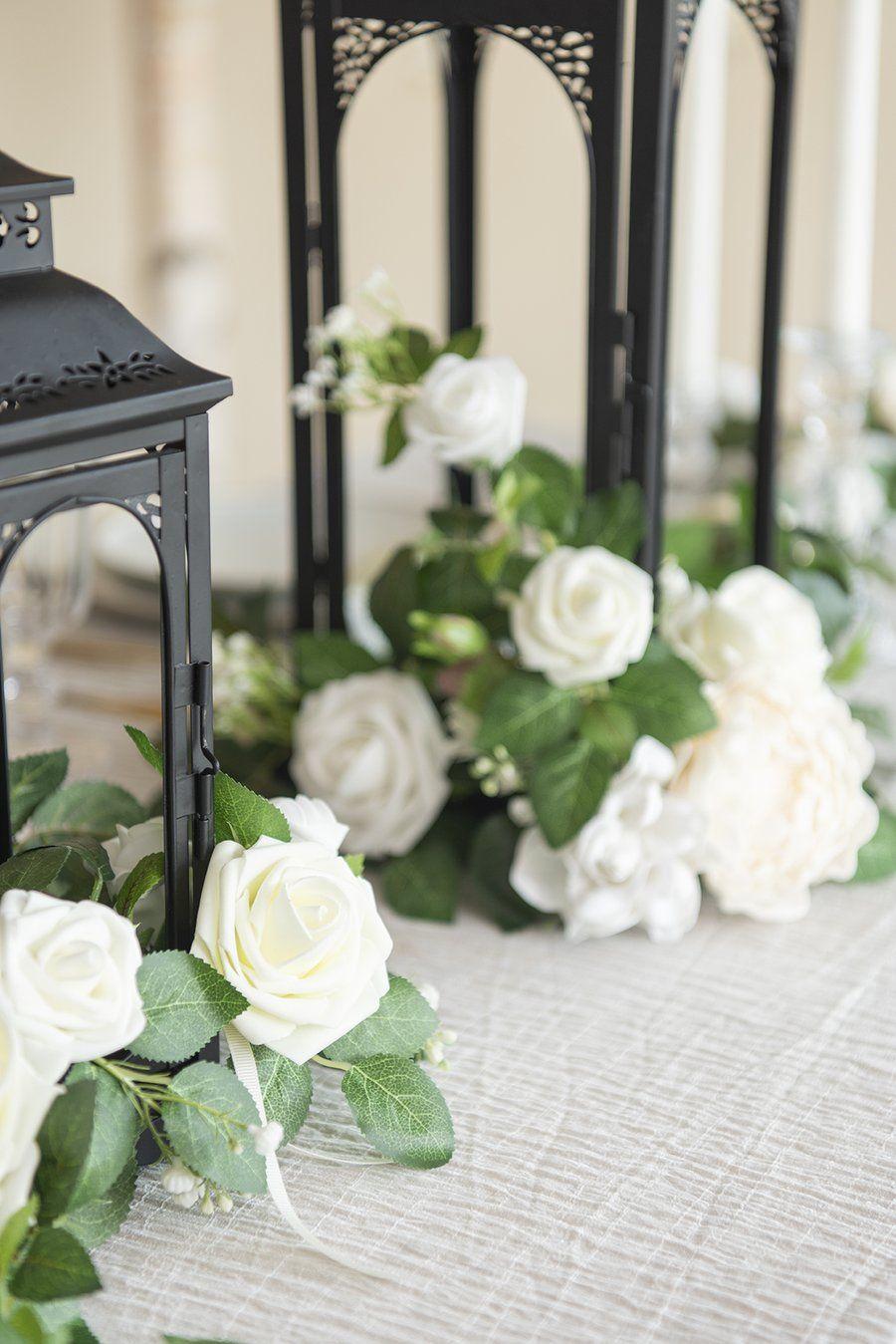 Lantern Floral Arrangements Set Of 6 Ivory In 2020 Paper Flower Bouquet Diy Flower Bouquet Diy Vintage Wedding Decorations