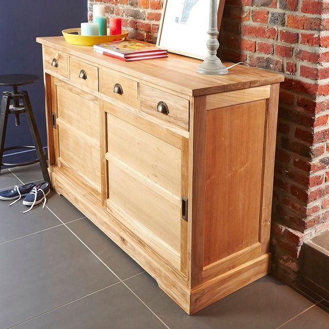 Buffet en bois de teck 4 tiroirs 2 portes disposition de Meuble de rangement 2 portes coulissantes