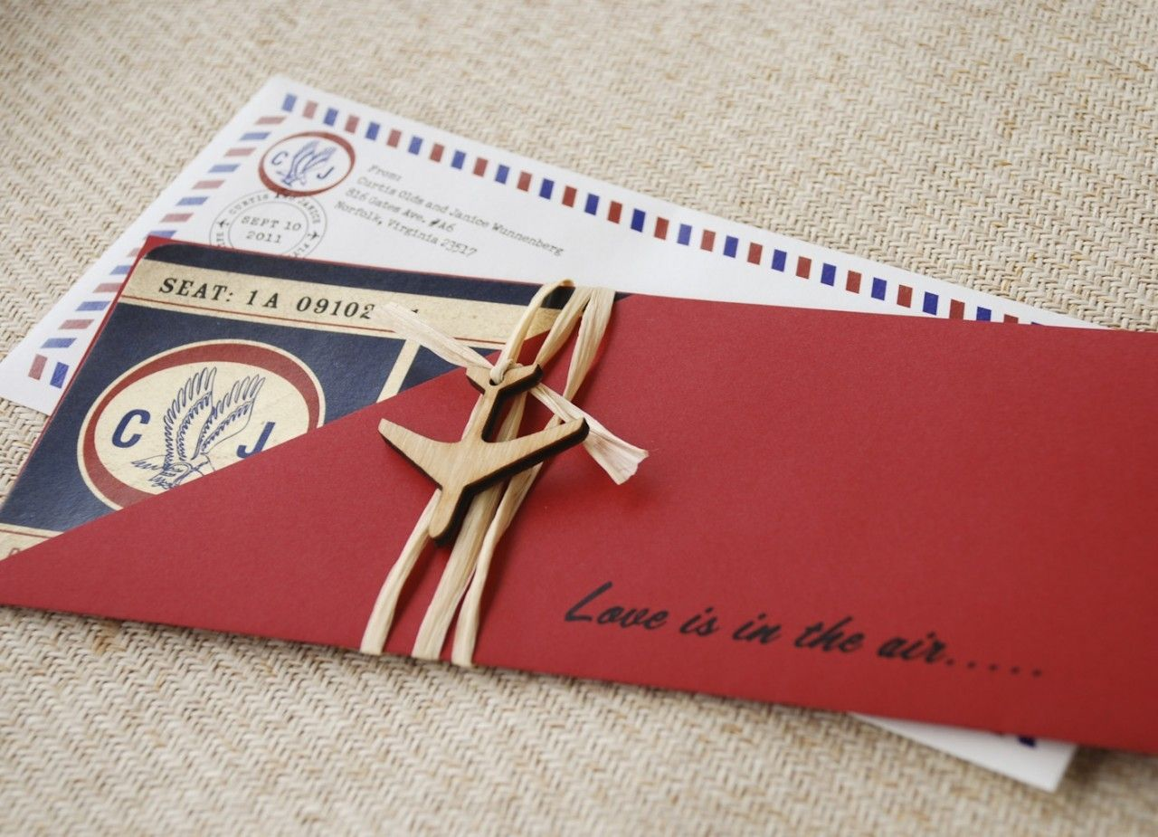 Vintage Air Mail Boarding Pass Wedding Invitation (Love is in the ...