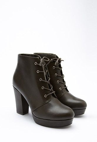 e65f95ea45d9 Faux Leather Platform Booties
