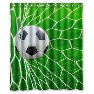 New Arrival Soccer Goal Net Football Printed Fabric Shower Curtain