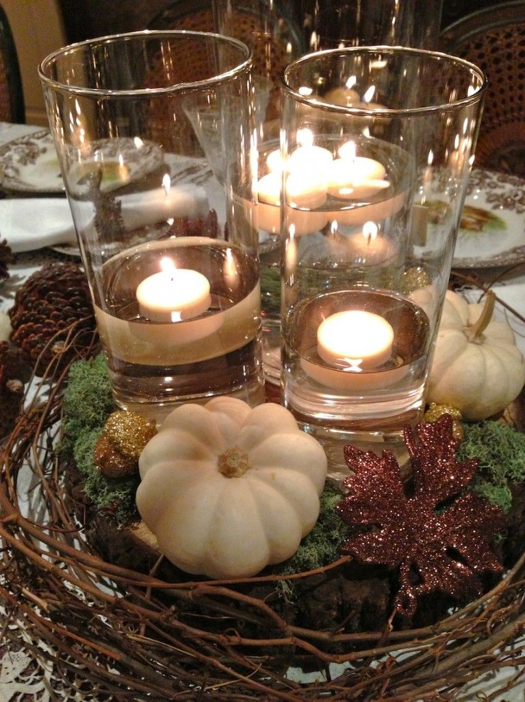 Rustic Elegant Thanksgiving Table Centerpiece Pine Cones