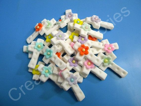 EDIBLE Mix Colors Cross Cupcake Toppers Christening by anafeke