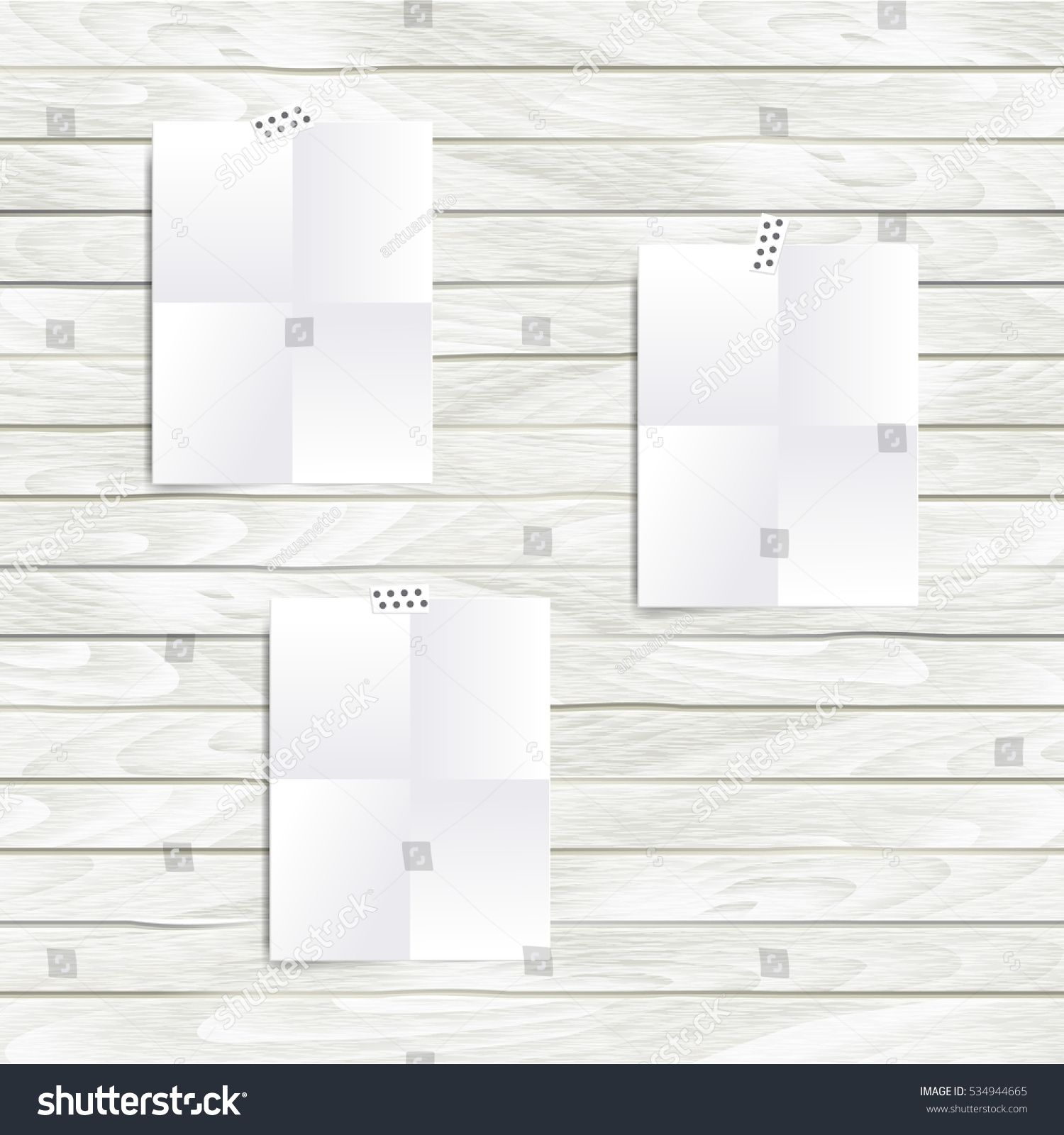 Vector white note paper folded in four set on the wooden wall vector white note paper folded in four set on the wooden wall hipster mood board fbccfo Images