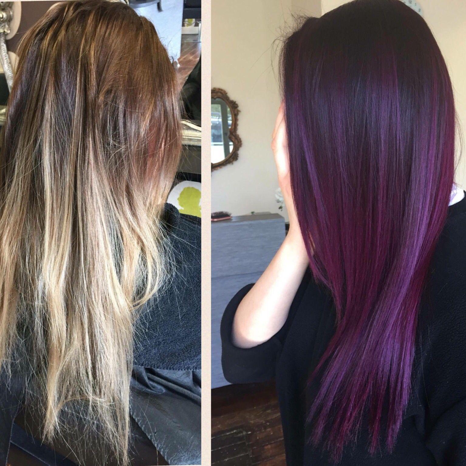 From blonde balayage to a purple balayage u hair pinteu