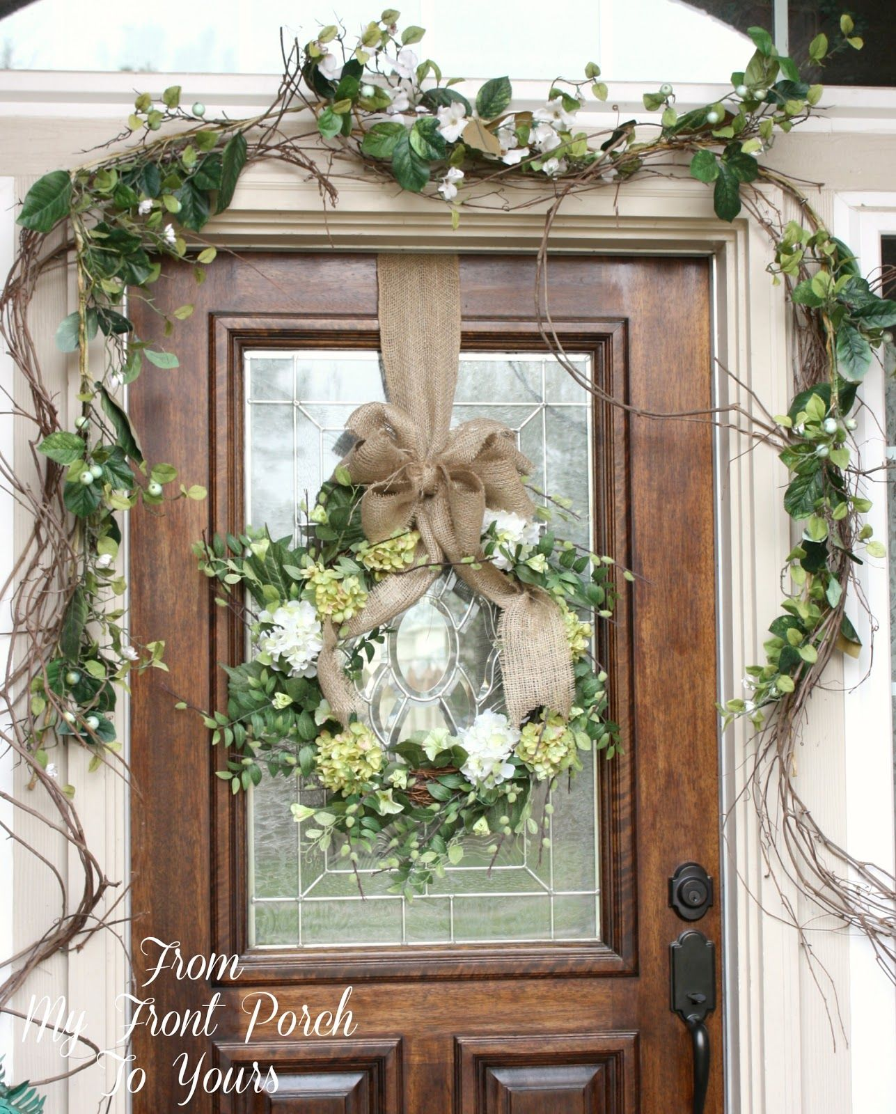 Simple spring front porch front porches porch and tutorials for Front door decor