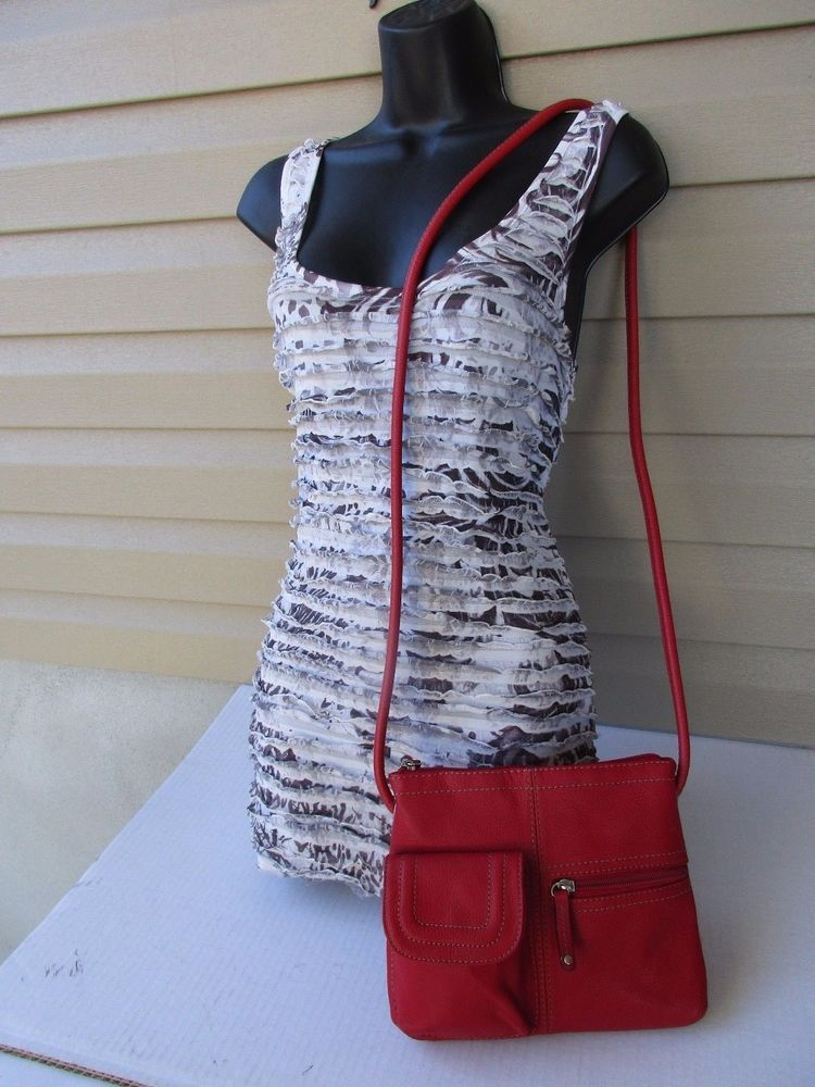 Tignanello women shoulder bag cross body Red Organizer #Tignanello #MessengerCrossBody