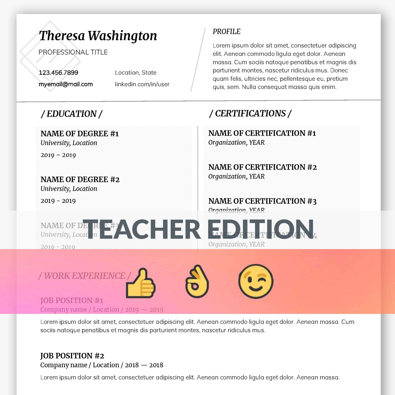 Teacher Resume Template Professional resume template