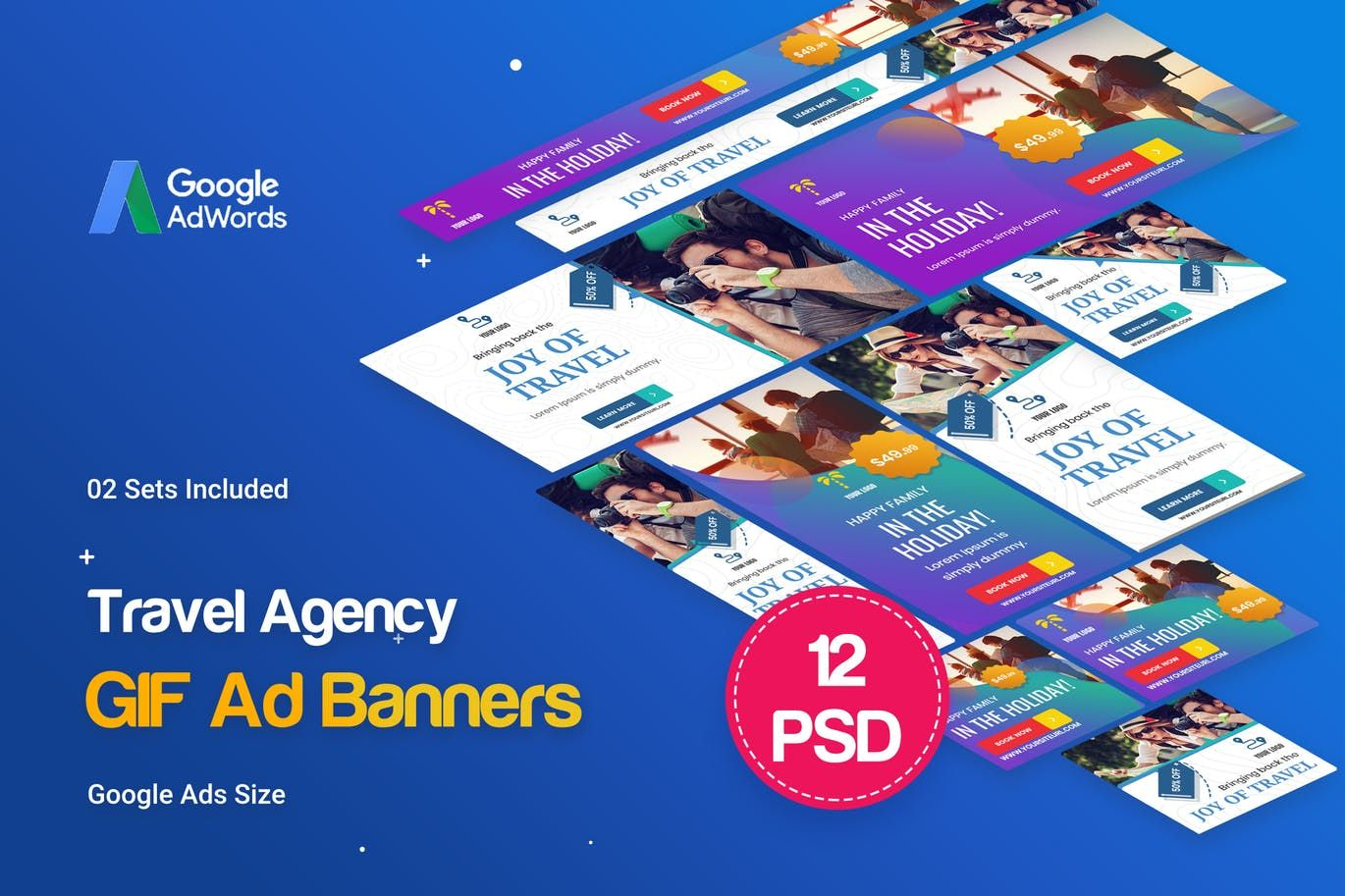 Animated gif travel agency banners ad by idoodle on
