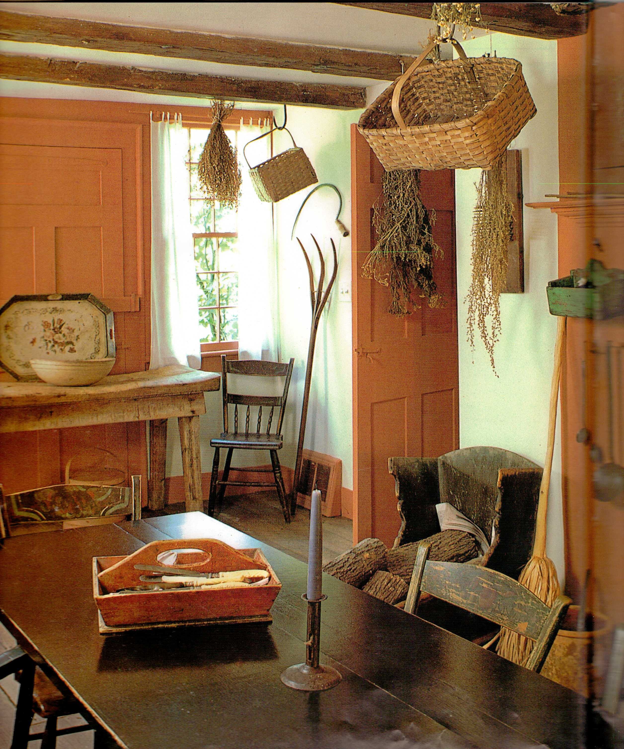 I Had To Pin This Because I Love The Paint Color And All The Hanging Dried Plants Lovely Room Country Dining Rooms Primitive Decorating Country Decor #primitive #paint #colors #for #living #room