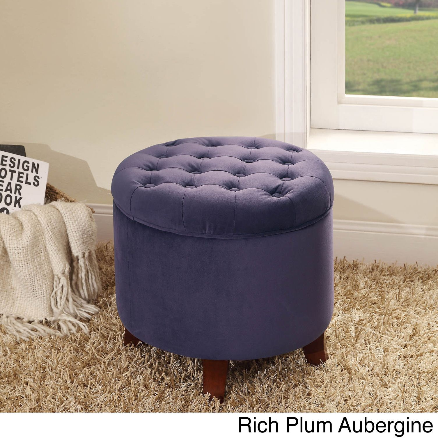 Homepop large round storage ottoman rich plum aubergine purple