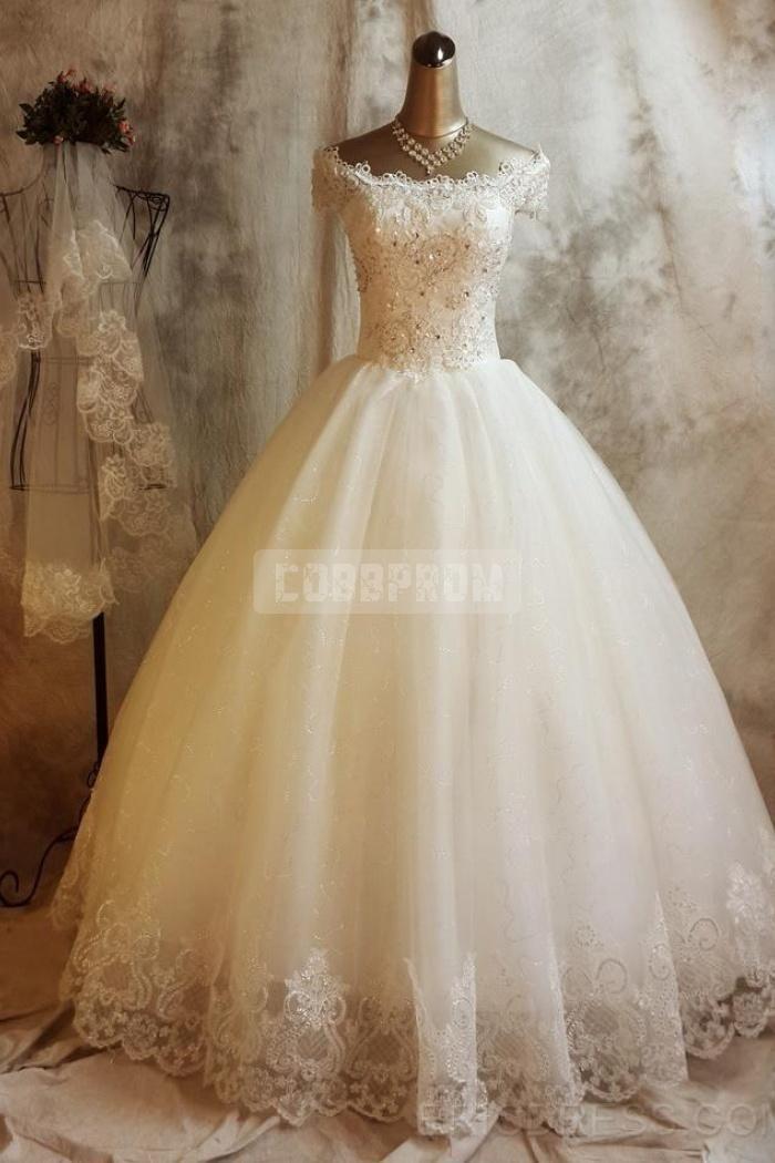 Princess Vintage Off Shoulder Capped Sleeves Ball Gown Wedding Dress Ball Gowns Wedding Wedding Dresses Wedding Dresses Beaded