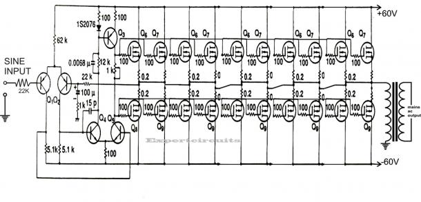 1kva (1000 Watts) Pure Sine Wave Inverter Circuit (Dengan
