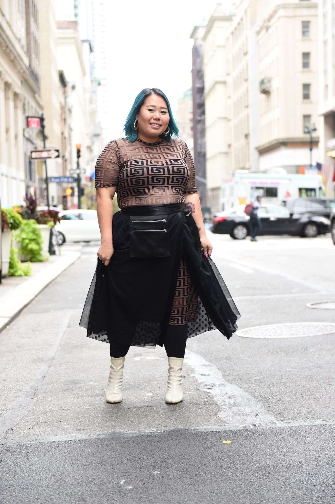 4b44164bebb plus size street style photo featuring a woman in a tulle skirt and sheer  bodycon Nyfw