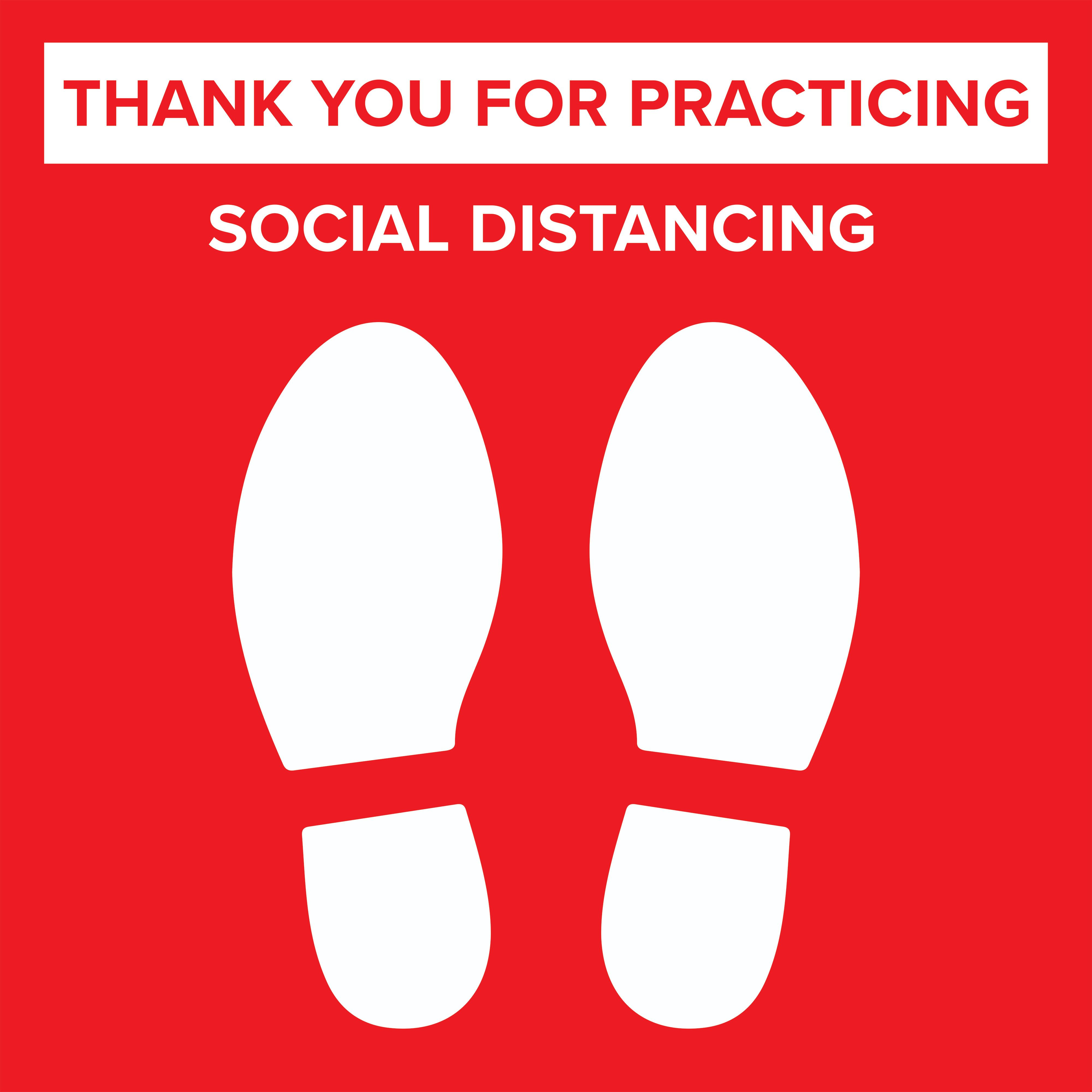 24 X 24 Pre Printed Floor Decal For Crowd Control Social Distancing Message Red Floor Decal Floor Stickers Crowd Control