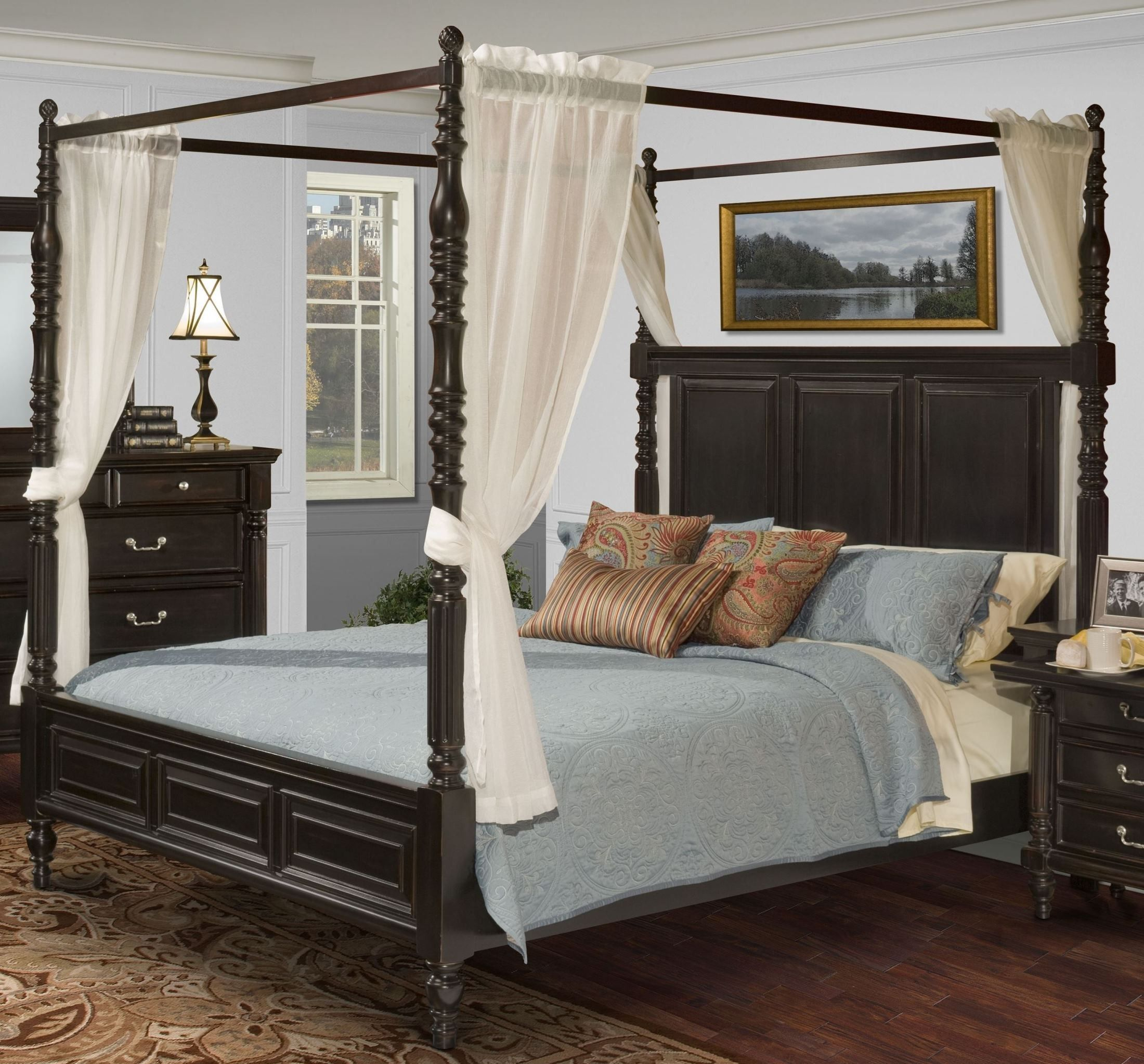 Martinique Rubbed Black Queen Poster Canopy Bed With Drapes ...