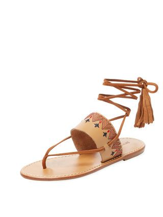 221c96f435f6 Embroidered Leather Lace-Up Sandal by Soludos at Gilt
