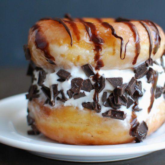 Make ice cream sandwiches with krispy kreme donuts vanilla ice make ice cream sandwiches with krispy kreme donuts vanilla ice cream and chocolate decadent ccuart Gallery