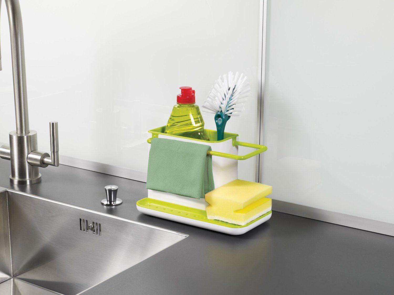 Amazon com joseph joseph 85022 sink caddy kitchen sink organizer holder for dish soap sponge brush holder drains water dishwasher safe gray kitchen tool