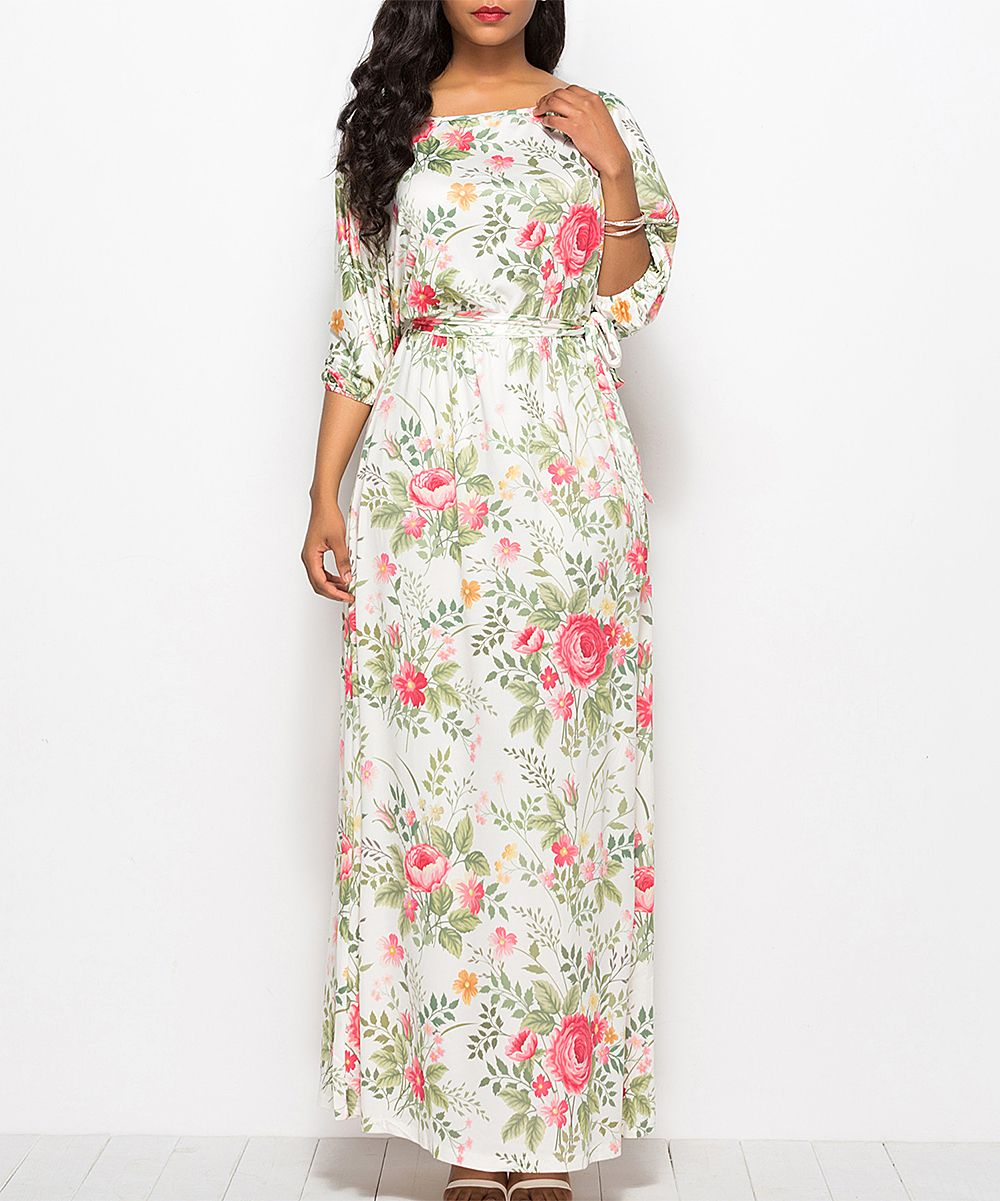 ea16797595eb VUTTI White Floral Belted Maxi Dress - Women