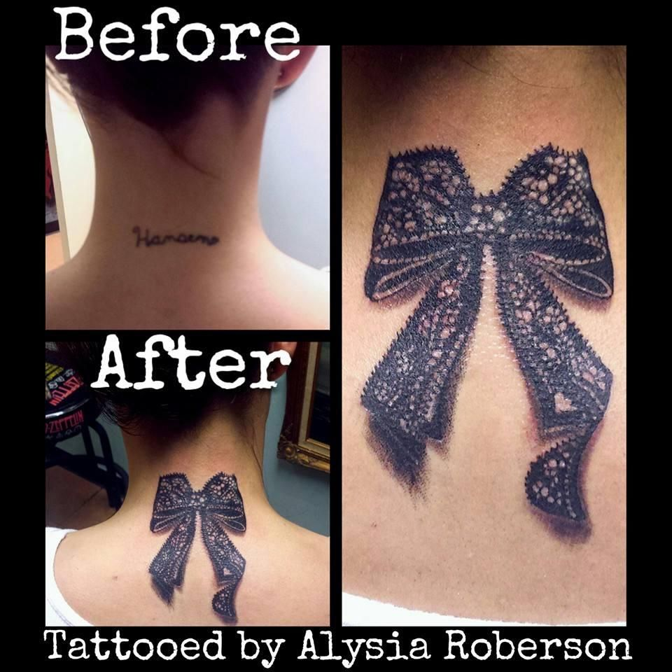 Cover-up Name Tattoo With A Cute Bow By Alysia Roberson At