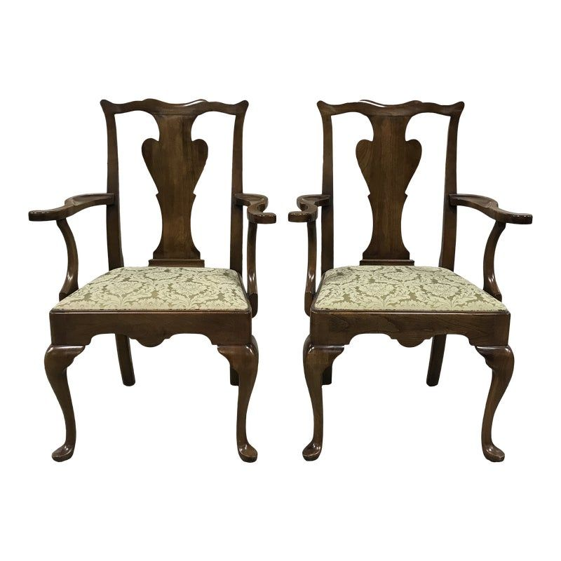 Late 20th Century Statton Old Towne Solid Cherry Dining Armchairs
