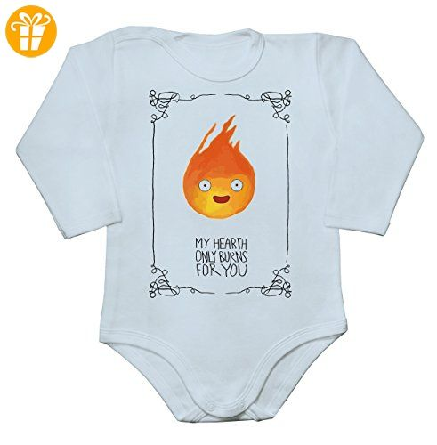 My Heart Only Burns For You Calcifer Baby Long Sleeve Romper Bodysuit Small - Baby bodys baby einteiler baby stampler (*Partner-Link)