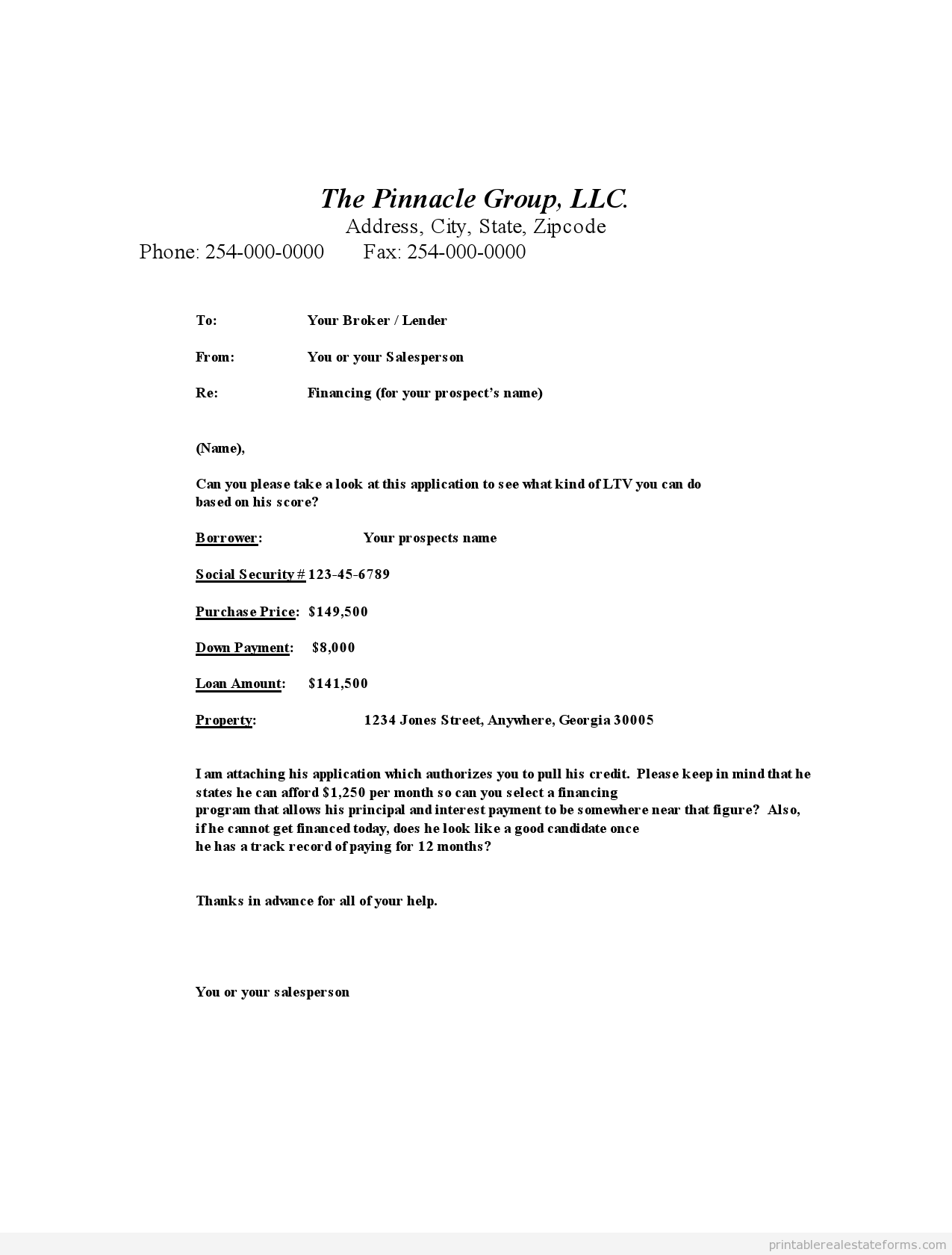 Sample Printable Mortgage Broker Submission 2 Form