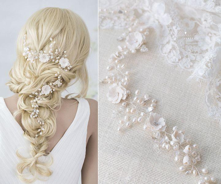 Braut haarschmuck mit perlen  Braut Haarschmuck Perlen Haardraht Zopf Schmuck | Braut ...