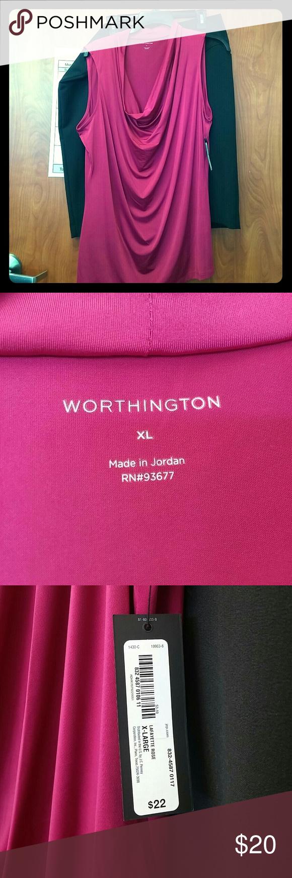 Worthington sleeveless dress shirt Fuschia scoop/cowl neck sleeveless dress/casual shirt by Worthington XL NWT  Open to Offers! Worthington Tops Blouses