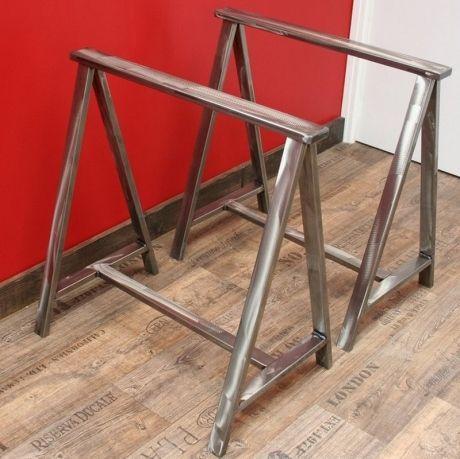 2 Tréteaux acier effet meulé Consoles - meuble en fer design