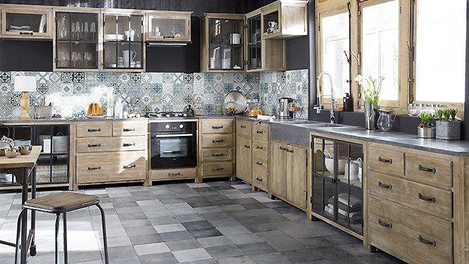 Un plan de travail en contraste avec les meubles de la cuisine - Table De Cuisine Avec Plan De Travail
