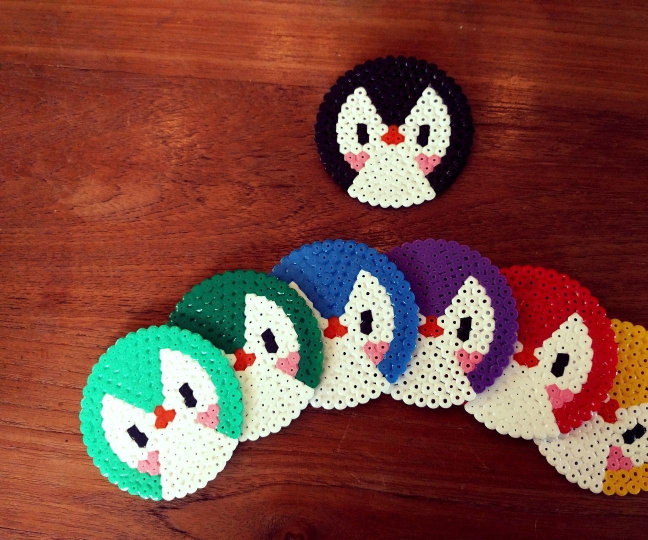 penguin perler bead coasters perler perler beads. Black Bedroom Furniture Sets. Home Design Ideas
