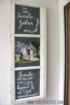 t rschild upcycling diy altes holzfenster familie bild kreide tafel t rschild upcycling. Black Bedroom Furniture Sets. Home Design Ideas