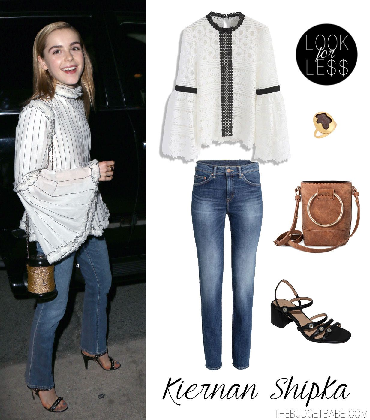 b0f85127d Kiernan Shipka's Bell Sleeve Blouse and Jeans Look for Less ...