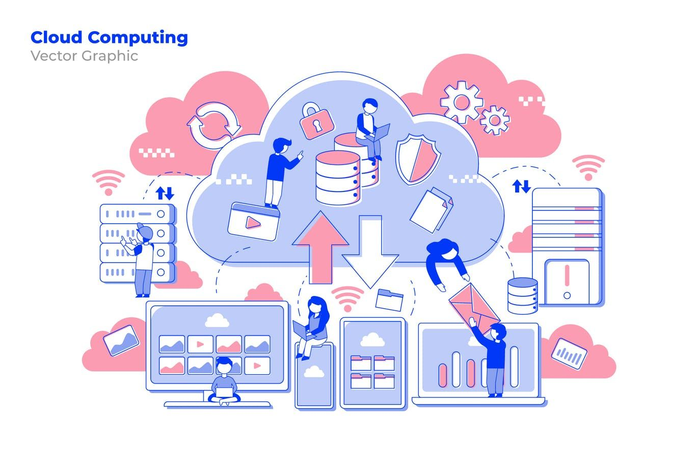 Cloud Computing Vector Illustration by aqrstudio on