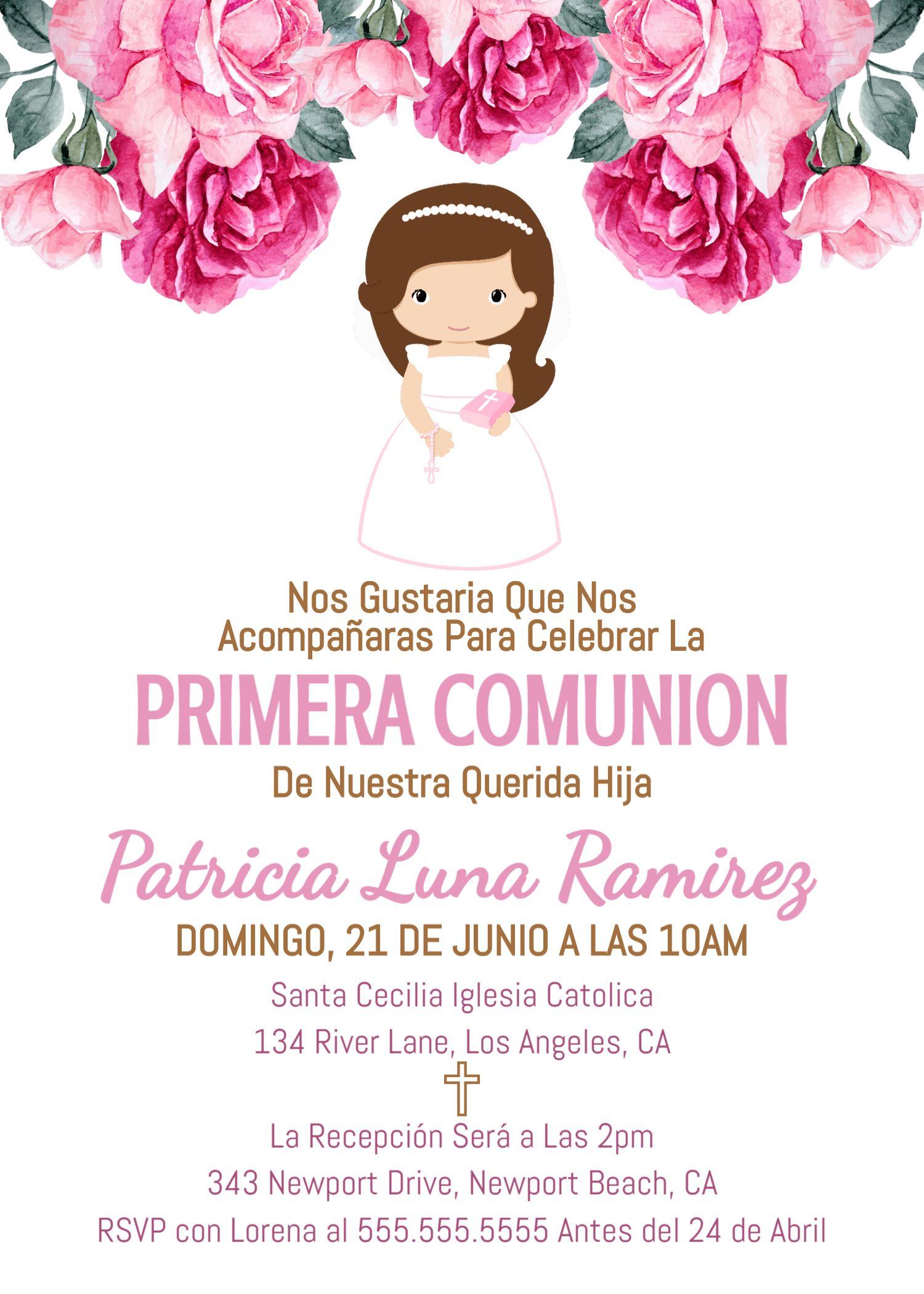 Invitacion Primera Comunion Printable First Communion Invitation Girl Nena Tarjeta Carta 1st