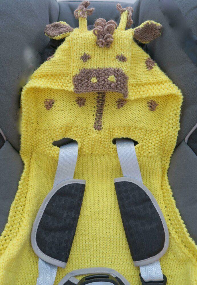 Giles Giraffe Hooded Baby Car Seat Blanket Knitting ...