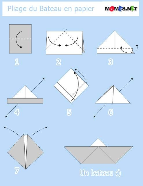 bateau en papier origami craft and manualidades. Black Bedroom Furniture Sets. Home Design Ideas