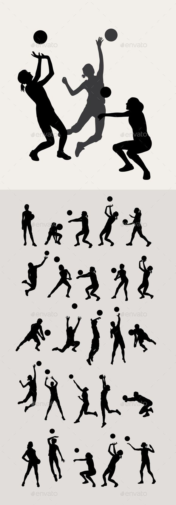 Volleyball Silhouettes Art Vector Design Ai Cs Jpeg And Eps Volleyball Silhouette Volleyball Poses Volleyball