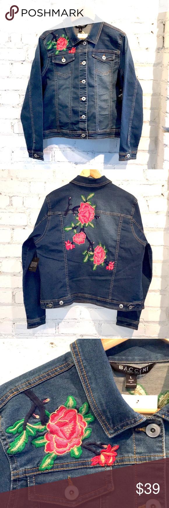 Baccini Embroidered Denim Jean Jacket Size L Embroidered Denim Clothes Design Fashion Design [ 1740 x 580 Pixel ]