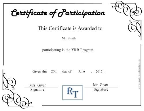 Participation certificate with a comapny logo april Free