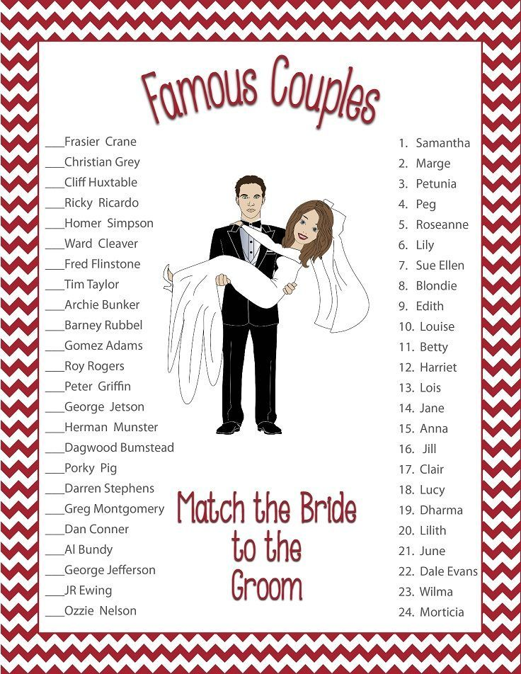 Famous Couples, Bridal Shower Game, Red Flowers, Groom holding bride ...